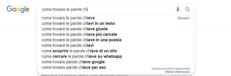 come trovare le parole chiave google