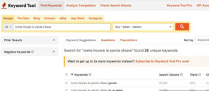 come trovare le parole chiave keyword tool