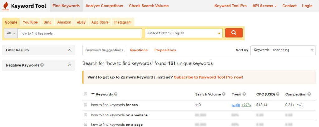 how to find keywords keywordtool