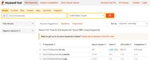 how to find keywords keywordtool