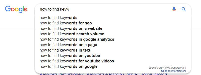 keywords on google instant