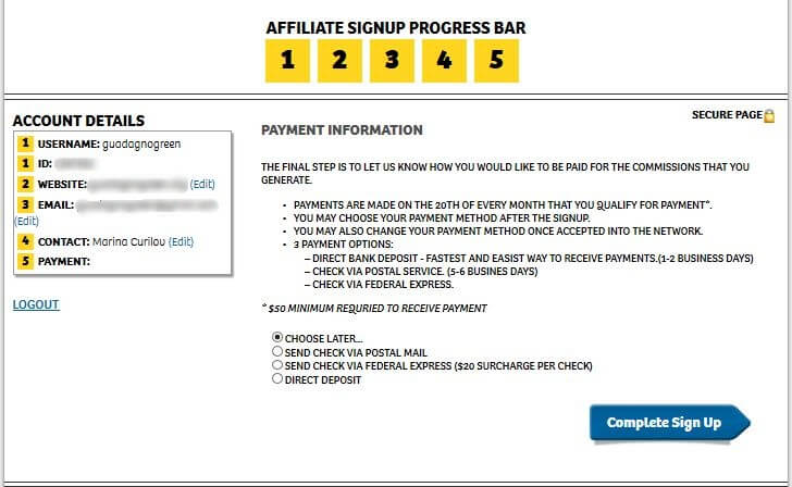 shareasale sign up process step 5